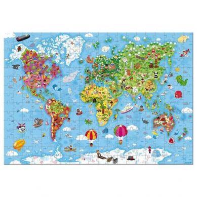 Janod - Puzzle w Walizce Ogromna Mapa Świata 300 elementów 7+