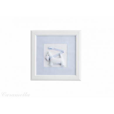 Caramella - Obrazek Błękitny z Motywem Błękitnego Pieska ze Smyczką z Kokardą