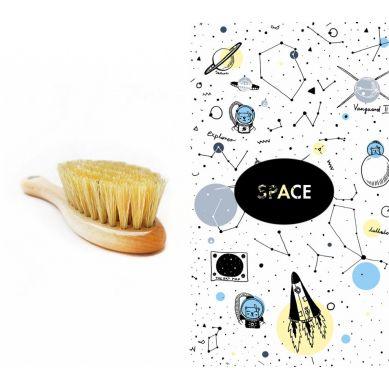 Lullalove - Szczotka z Naturalnego Włosia w Zestawie z Muślinową Myjką Space
