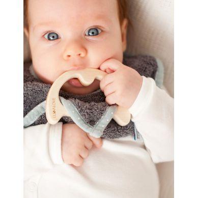 Lullalove - Śliniak z Drewnianym Gryzakiem SuperPRO Baby Eco Gray