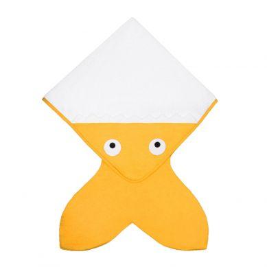 Baby Bites - Ręcznik z Kapturkiem Rekinek 75x75cm Musztardowy