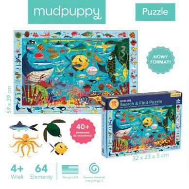 Mudpuppy - Puzzle Szukaj i Znajdź Życie Oceanu 64 Elementy