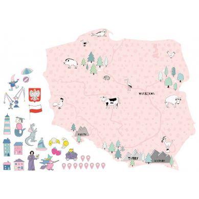Pastelowelove - Naklejka na Ścianę Mapa Polski Różowa S 53x50 cm