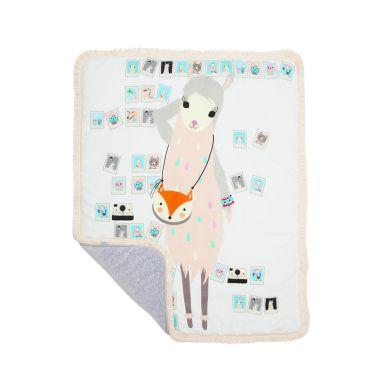 Maki Mon Ami - Dwustronny Ciepły Koc z Frędzlami Lamą Mila L