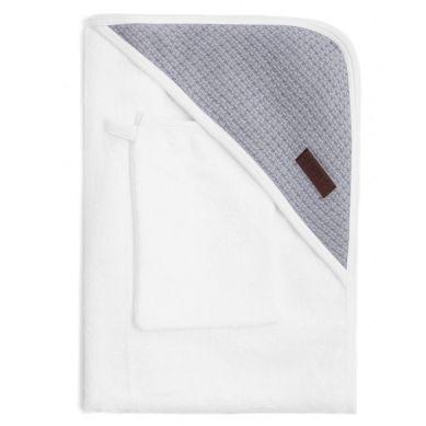 Bamboom - Ręcznik z Kapturkiem + Myjka 100% Bambus Organiczny Biały&Popielaty
