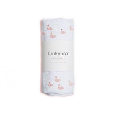 Funkybox - Pieluszka Bawełniana 70x70 Pink Swam 0m+
