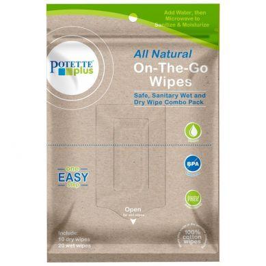 Poette Plus -  Biodegradowalne mokre/suche chusteczki On-The-Go