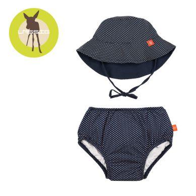 Lassig - Zestaw Kapelusz i Majteczki do Pływania z Wkładką Chłonną UV 50+ Polka Dots Navy 6m