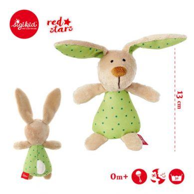 Sigikid - Miękka Mini Grzechotka Zielony Zajączek Red Stars