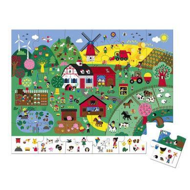 Janod - Puzzle Obserwacyjne w Walizce Farma 24 Elementy 3+
