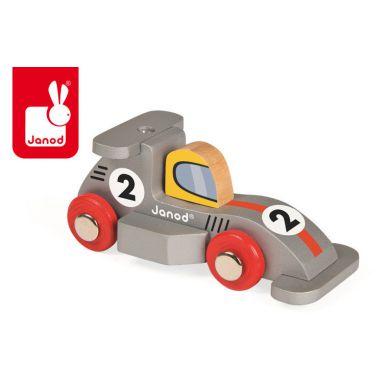 Janod - Wyścigówka Drewniana Formuła 1 Srebrna