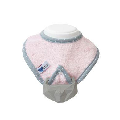 Lullalove - Śliniak z Gryzakiem SuperPRO Baby Hevea Pink 0m+