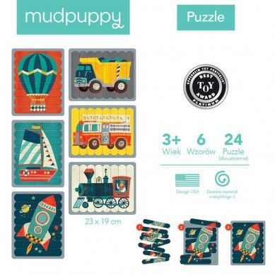 Mudpuppy - Puzzle Patyczki Roboty 24 Transport
