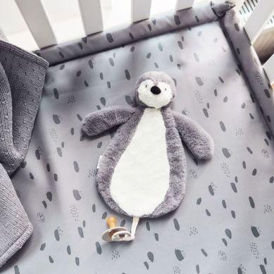 Jollein - Przytulanka Dou Dou z Zawieszką na Smoczek Pingwin Strom Grey
