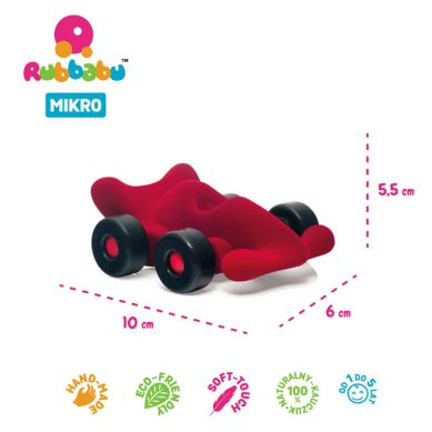 Rubbabu - Bolid Wyścigowy Sensoryczny Czerwony Mikro