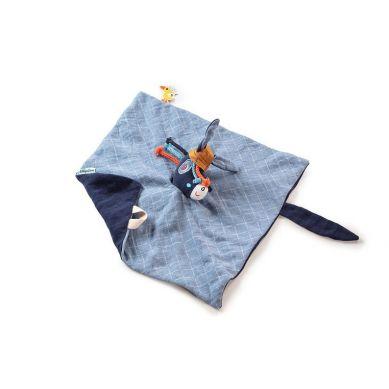 Lilliputiens - Muślinowy Komforter z Mini-Pacynką na Palec Osiołek Ignace 0 m+