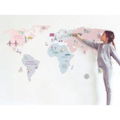 Pastelowelove - Naklejka na Ścianę Mapa Różowa S 100x50 cm