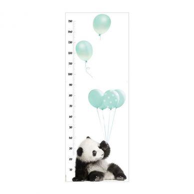 Dekornik - Naklejka Ścienna Miarka Wzrostu Panda z Miętowymi Balonami