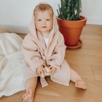 Bim Bla - Muślinowy Szlafroczek Różowy 1-2 lata