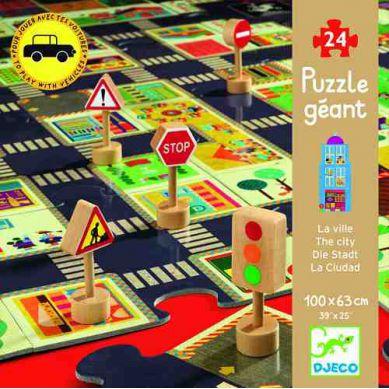 Djeco Puzzle Miasto ze Znakami Drogowymi