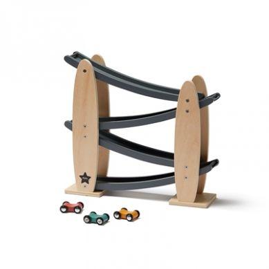 Kids Concept - Drewniana Zjeżdżalnia dla Samochodzików Grey 3+