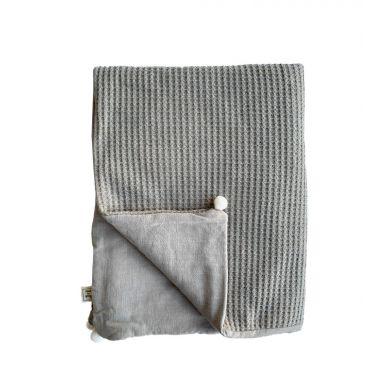 Muzpony - Dwuwarstwowy Kocyk 75×100 cm Lniany Zakątek Taupe
