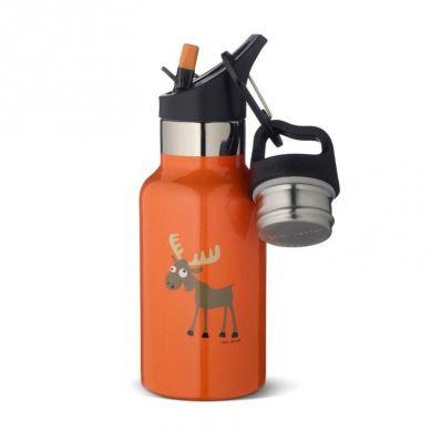 Carl Oscar - Temp Bottle Butelka Termiczna ze Słomką ze Szlachetnej Stali Nierdzewnej Orange Moose