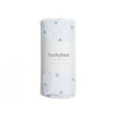 Funkybox - Pieluszka Bawełniana 70x70 Olive Lukcy Clover 0m+