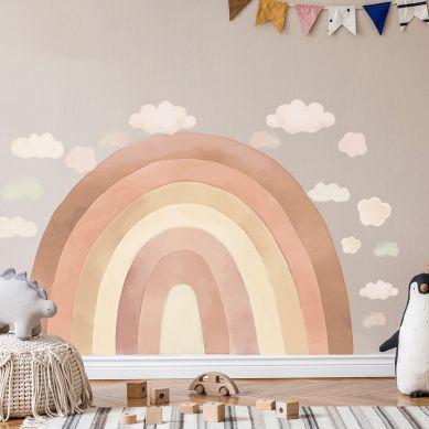 Pastelowelove - Naklejka na Ścianę Tęcza Beżowa