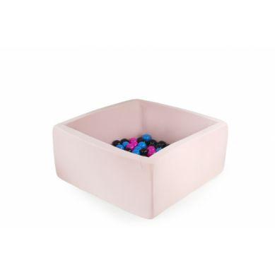 Misioo - Suchy Basen Kwadratowy z 200 Piłeczkami Pudrowy Róż 90x90x40 cm + 50 Dodatkowych Piłek