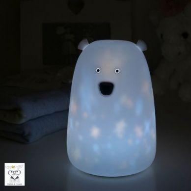 Rabbit&Friends - Lampka Miś Duży Biały w Gwiazdki