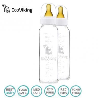 Eco Viking - Antykolkowa Butelka Szklana dla Niemowląt 240 ml - 2 szt.