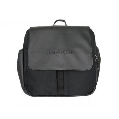Lullalove - Torba-plecak do wózka - czerń ekoskóra + cordura