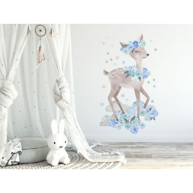 Pastelowelove - Naklejka na Ścianę Sarneka Niebieska