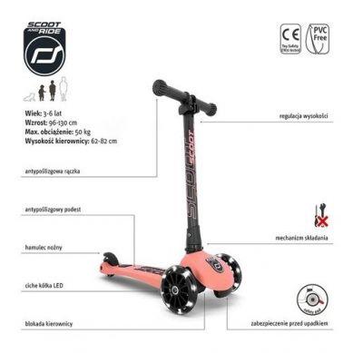 Scootandride - Highwaykick 3 LED Hulajnoga Składana ze Świecącymi Kółkami 3+ Peach