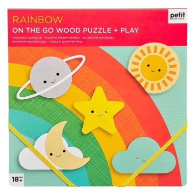 Petit Collage - Puzzle Drewniane On The Go Tęcza 18m+