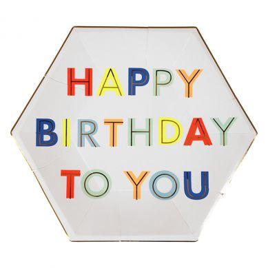 Meri Meri - Zestaw Talerzyków Urodzinowych Happy Birthday to You