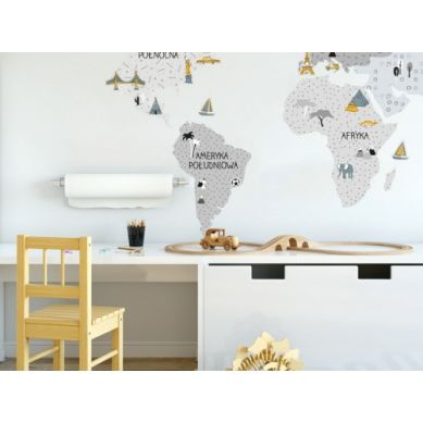 Pastelowelove - Naklejka na Ścianę Mapa Szara L 190x100 cm