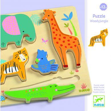 Djeco - Drewniane Puzzle Zwierzątka z Dżungli