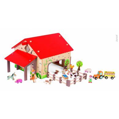 Janod - Farma Drewniana z 19 Akcesoriami
