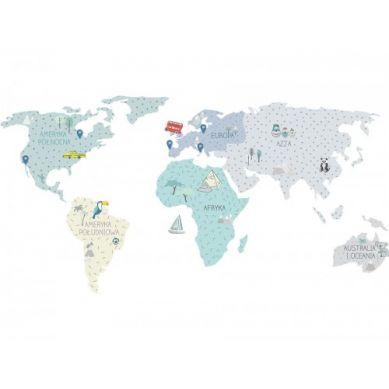 Pastelowelove - Naklejka na Ścianę Mapa Miętowa S 100x50 cm