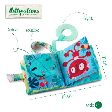 Lilliputiens - Mini Książeczka Wielofunkcyjna z Szeleszczącą Folią i Gryzakiem Lemur George 6 m+