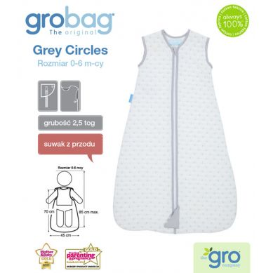Gro Company - Śpiworek Grobag Grey Circles grubość 2,5 tog Jacquard 6-18m