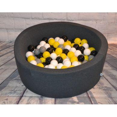 Misioo - Suchy Basen z 200 Piłeczkami 30 cm Grafitowy + 150 Dodatkowych Piłek