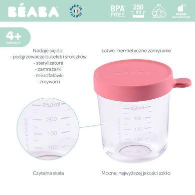 Beaba - Pojemnik Słoiczek Szklany z Hermetycznym Zamknięciem Dark Pink 250ml