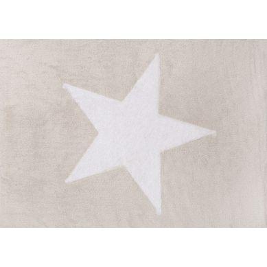 Aratextil - Dywan Bawełniany do Prania w Pralce Beżowy z Dużą Białą Gwiazdą 120x160cm