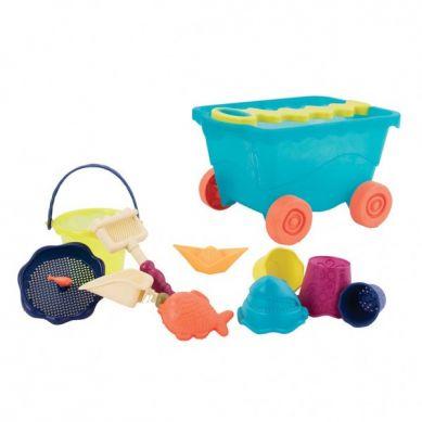 B.Toys - Wózek z Akcesoriami do Piasku Niebieski Transparentny