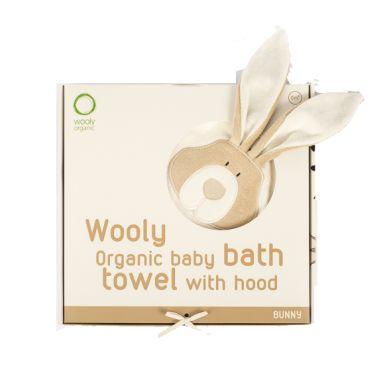 Wooly Organic - Organiczny Ręcznik Kąpielowy z Kapturem Classic Bunny Zajączek 75x75cm