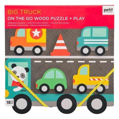 Petit Collage - Puzzle Drewniane Samochody  18m+
