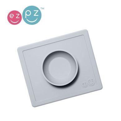 EZPZ - Silikonowa Miseczka z Podkładką 2w1 Happy Bowl Pastelowa Szarość